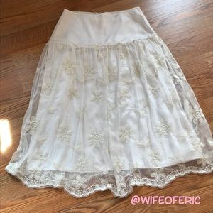 Sheer A-Line Skirt with Lining & Crocheted Daisies